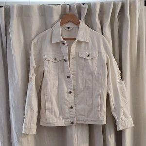 Jackets & Blazers - White destroyed jean jacket